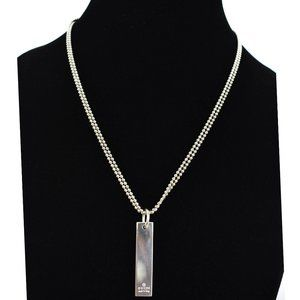 GUCCI: Sterling Silver Beaded Logo Bar Necklace nx